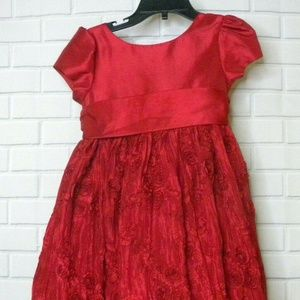 Cinderella Textured Red Christmas Holiday Dress 4T